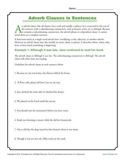 Clauses worksheet for grade 6