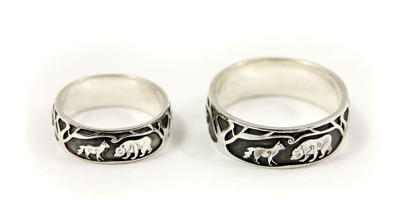Fox and Bear Bespoke Wedding Rings Silver wedding rings Foxes and