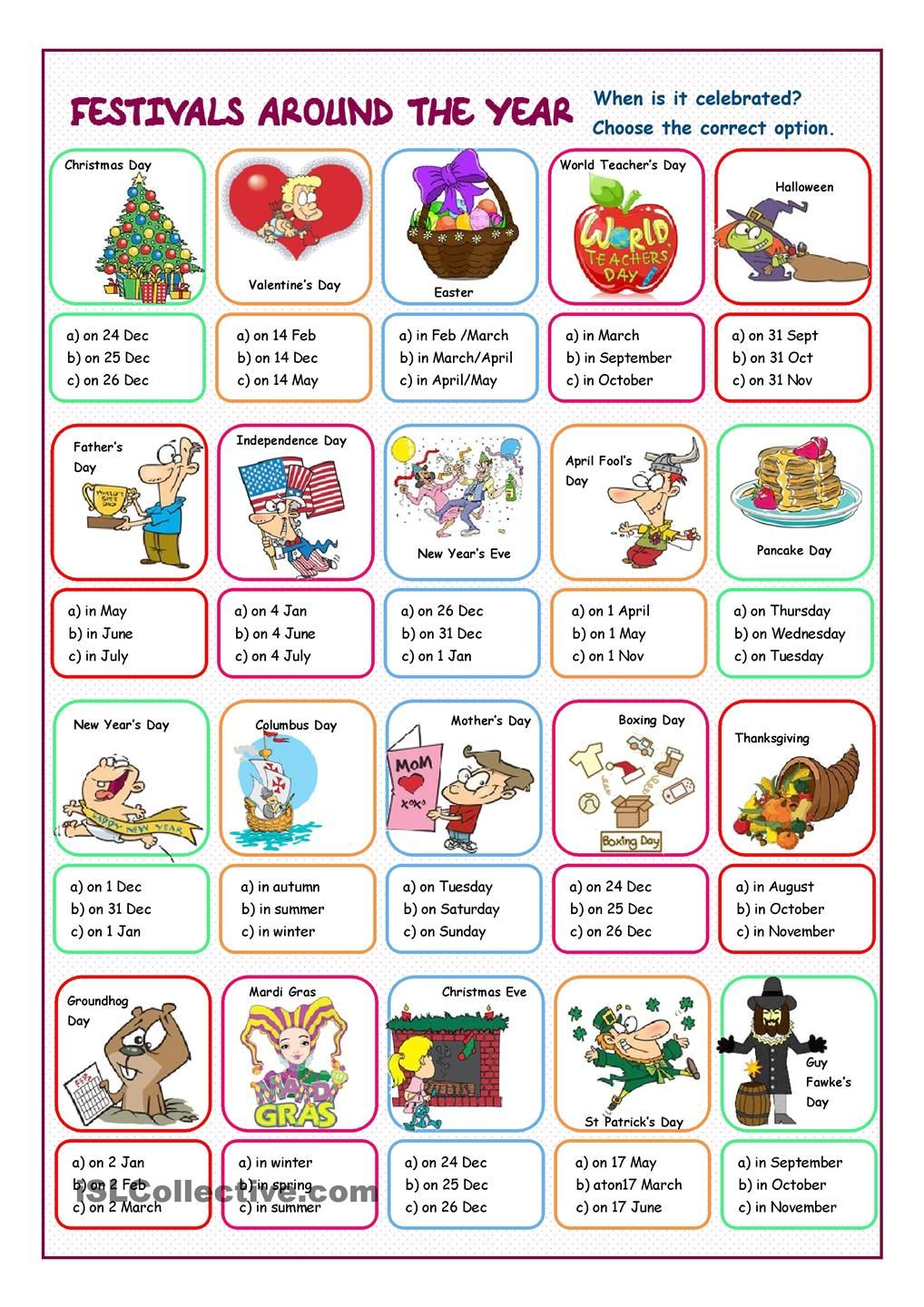 Festivals Around the Year Multiple Choice Holiday