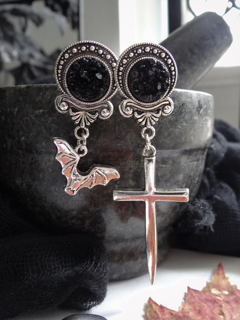 Black Cross Earrings Gothic Pagan Wicca Earrings Vampire Earrings
