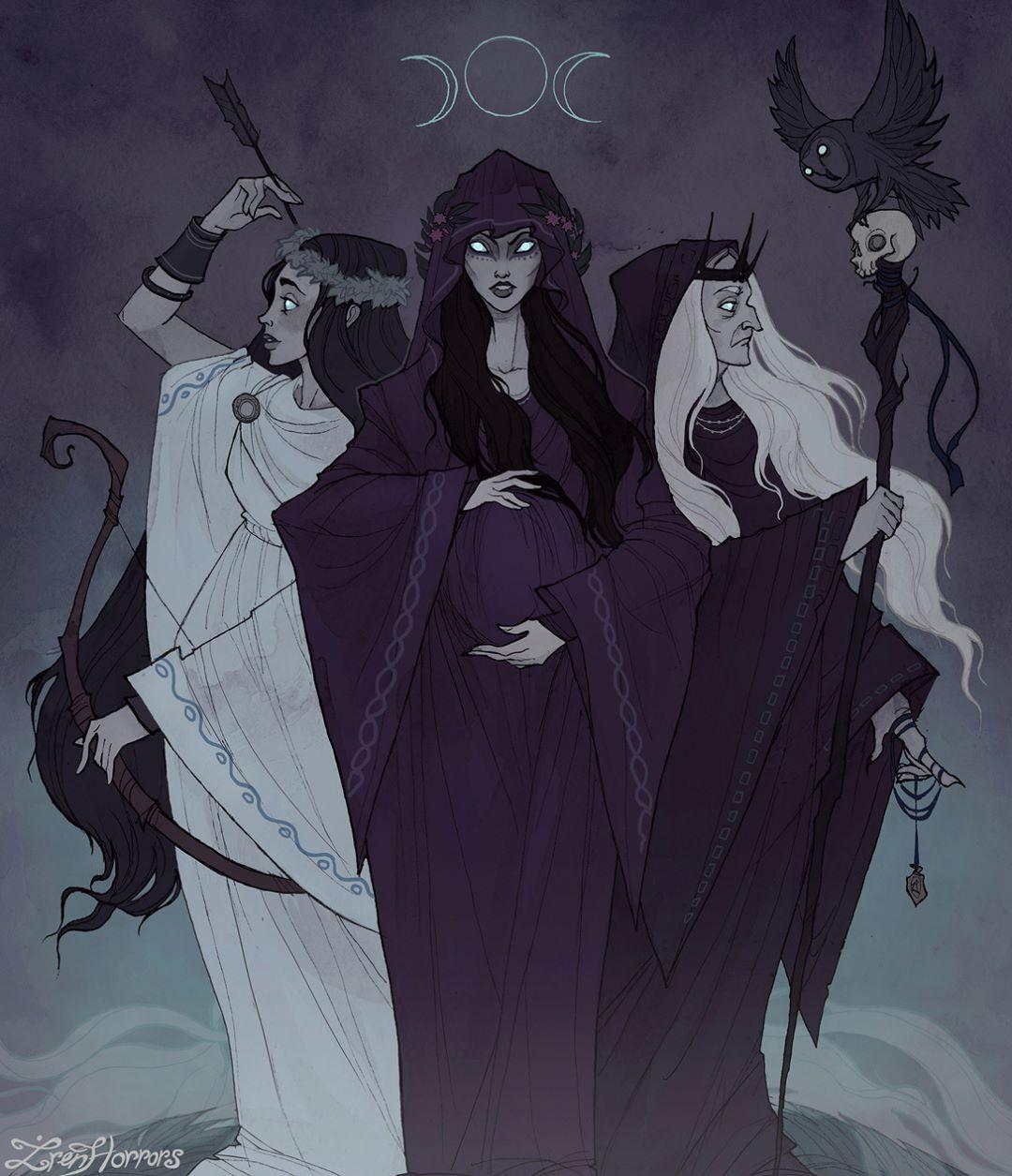 Hecate, diosa de la luna y protectora de la luna.   Arte de la diosa, Arte wicca, Diosa triple