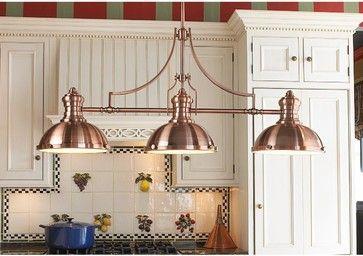 Period Pendant Island Chandelier Copper Farmhouse Kitchen