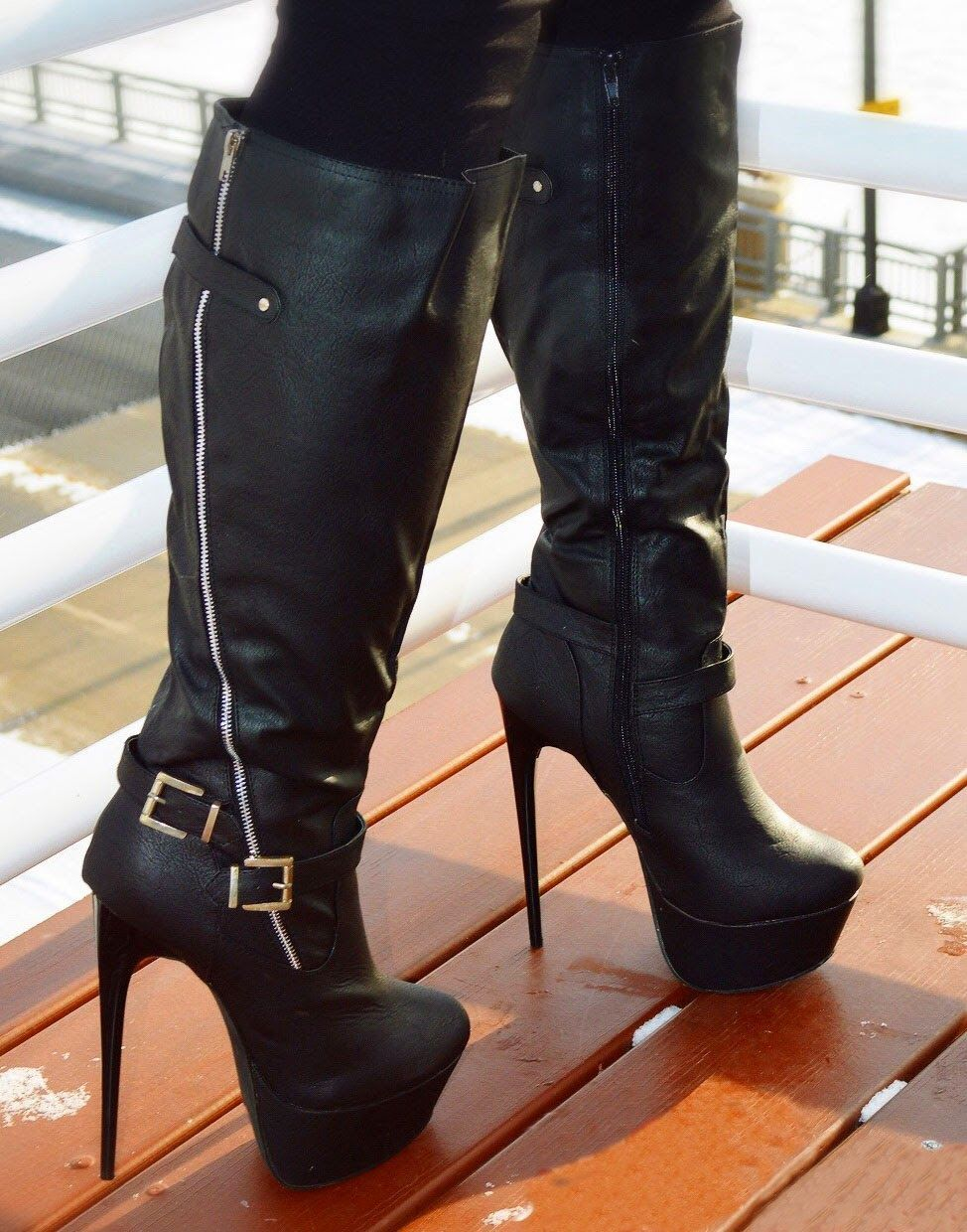 3f108258eaf9 Knee high boots wide calf leg wrap chunky heels