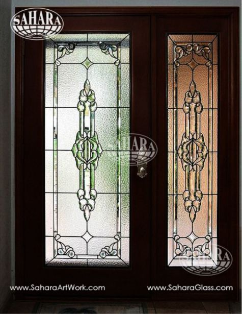 Classic Design Door Inserts Made From Clear Crystal And Stained