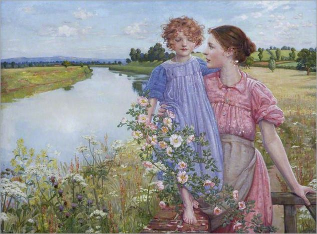 A mother and child by a river, with wild roses, 1900 - by Mildred Anne Butter