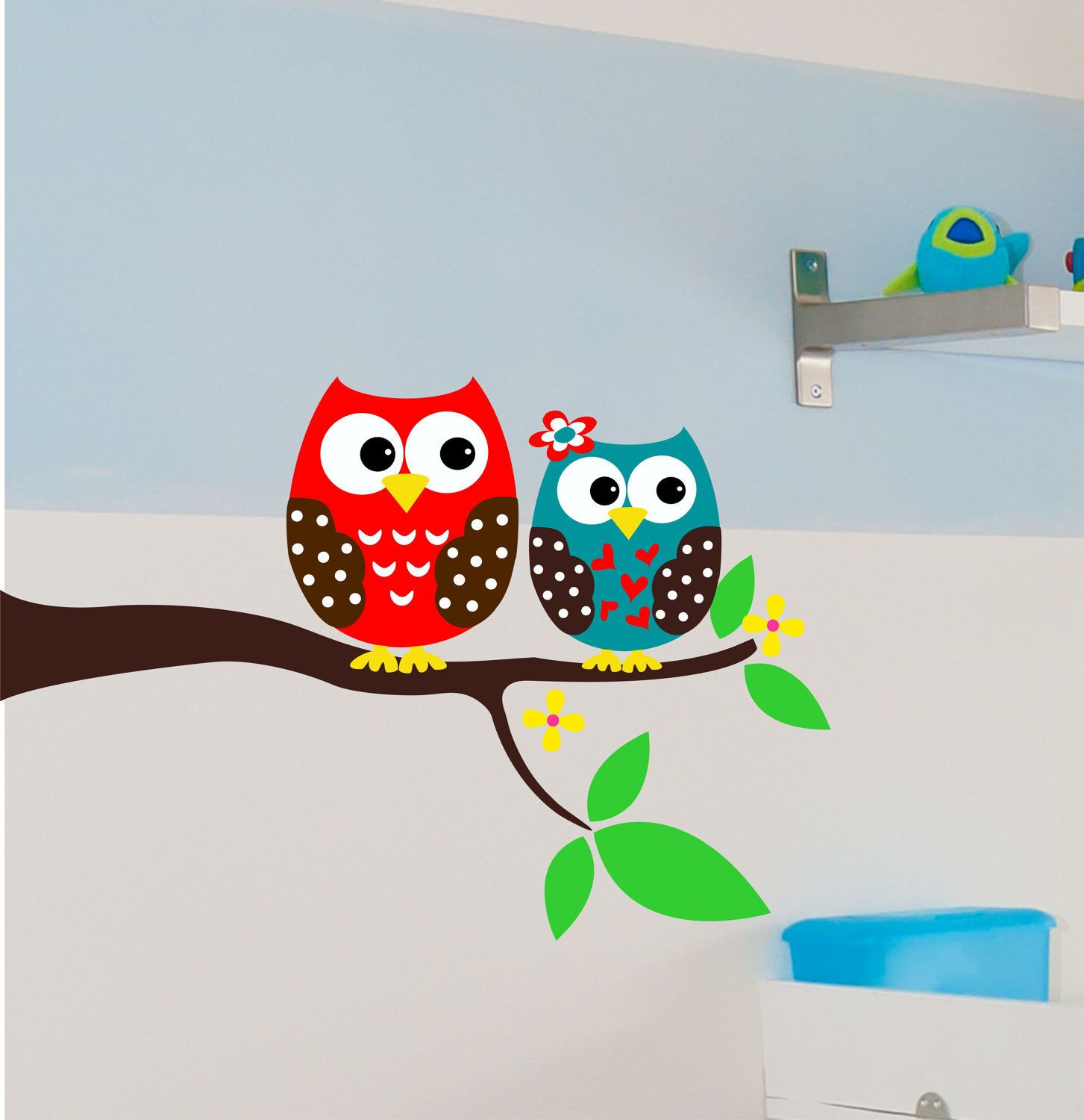 Owl Wall Decals   Owl On Branch   Children Wall Decals   Baby Vinyl Wall Art