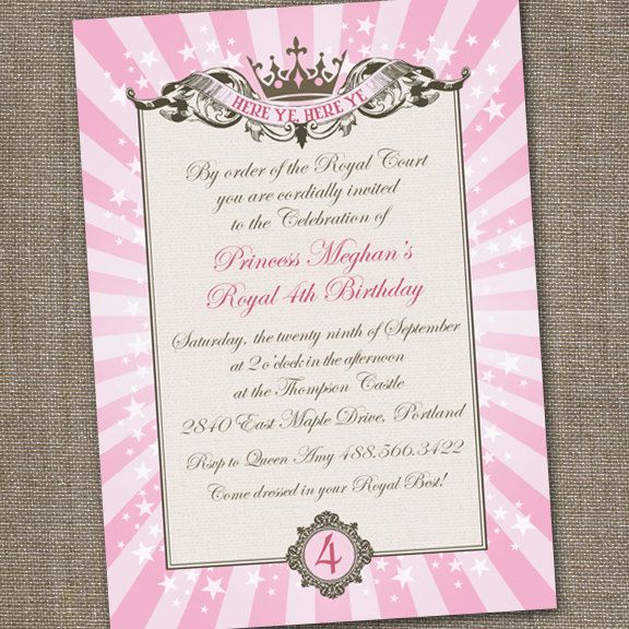 royal princess tiara printable birthday invitation. $15.00, via, Party invitations