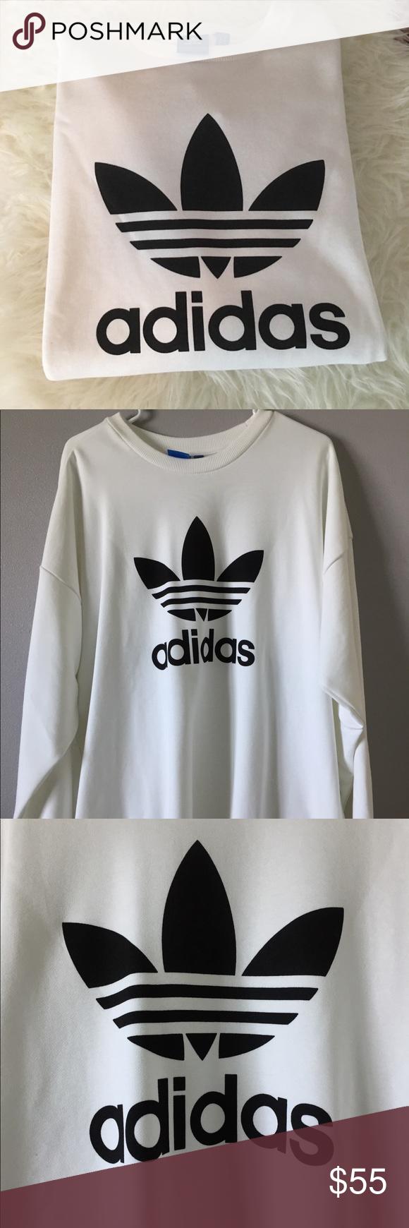 Adidas Originals Trefoil Oversized Sweatshirt Xl Oversized Sweatshirt Sweatshirts Adidas Originals [ 1740 x 580 Pixel ]