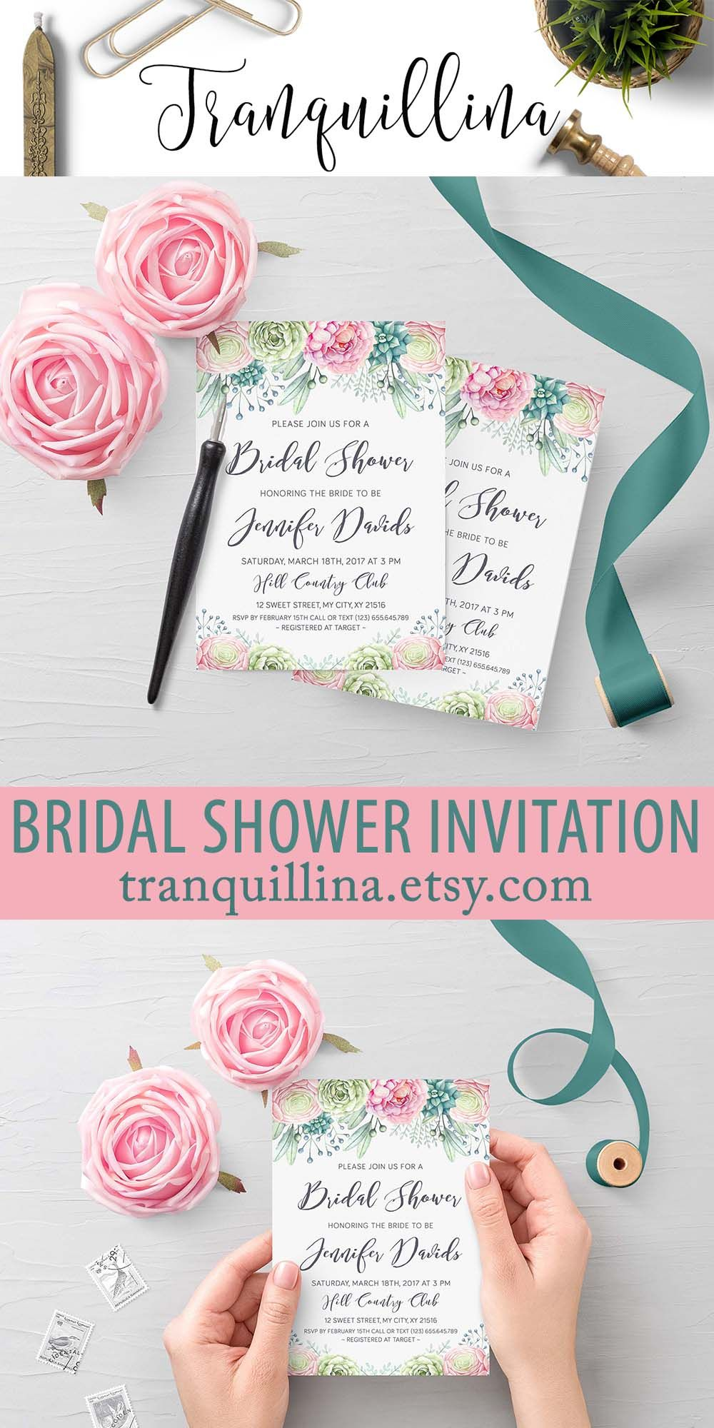 Succulent Bridal Shower Invitation With Beautiful Pastel Pink And