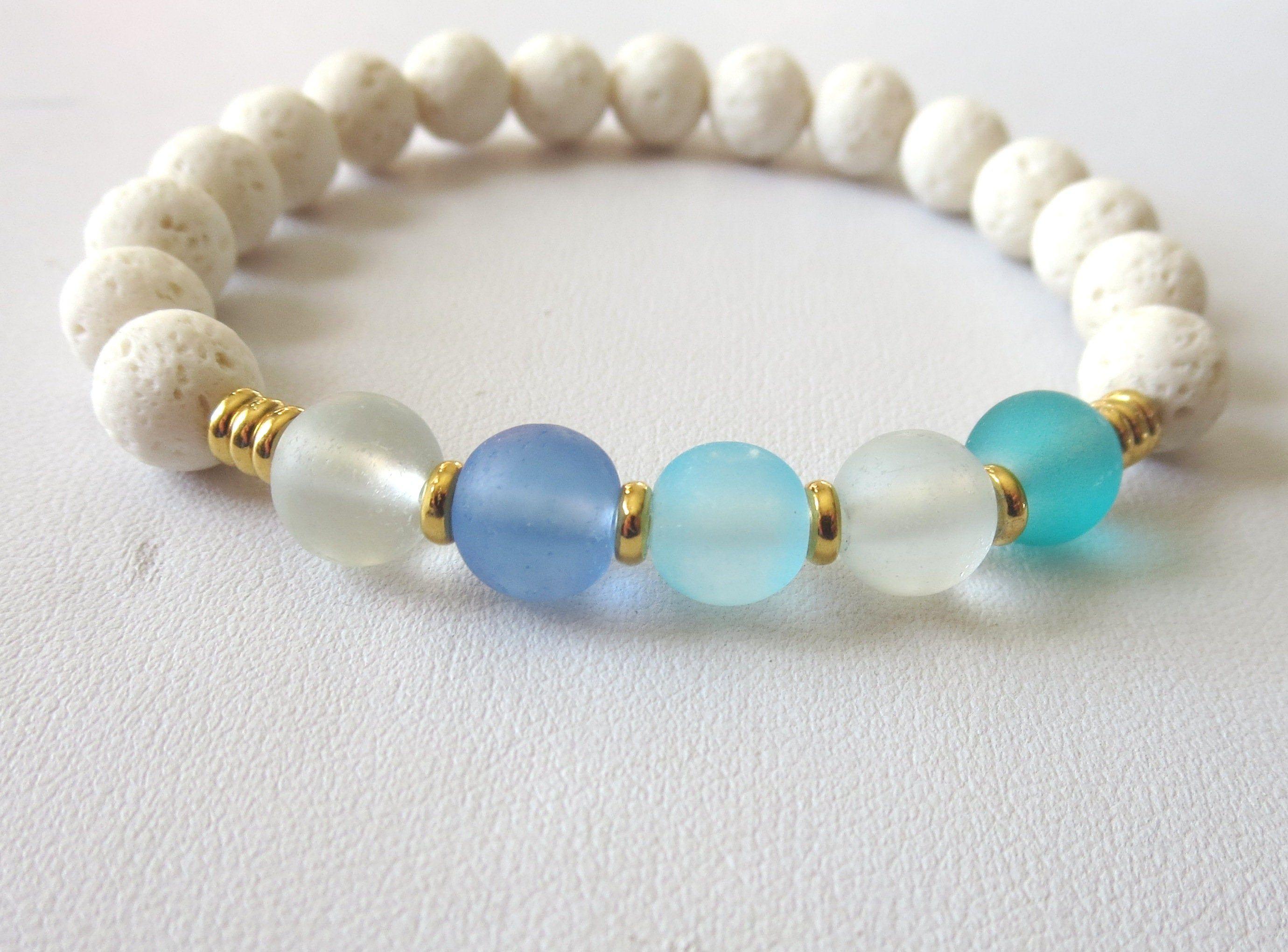 Denim blues stretchy seed bead bracelet or necklace