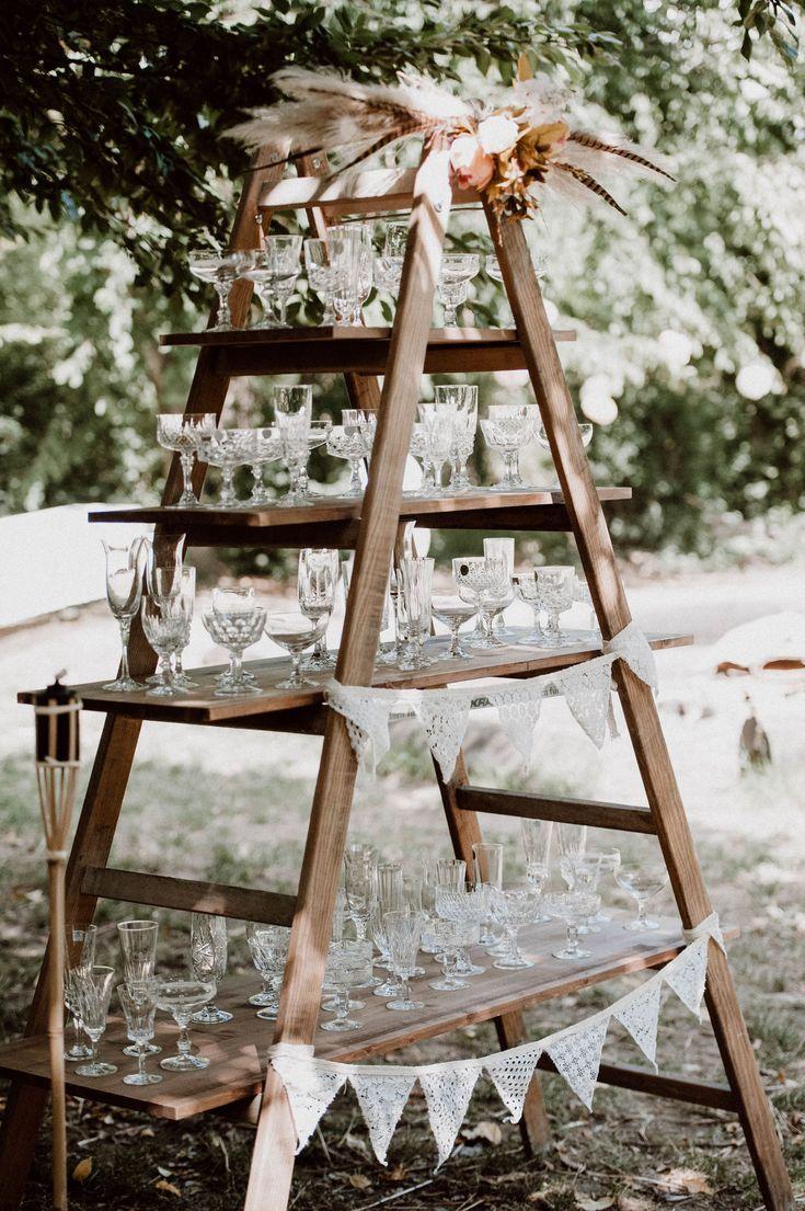 Boho Vintage Hochzeit Wedding Deko Leiter Kristallgläser Sektbar Boho Vintage… – Wohnaccessoires