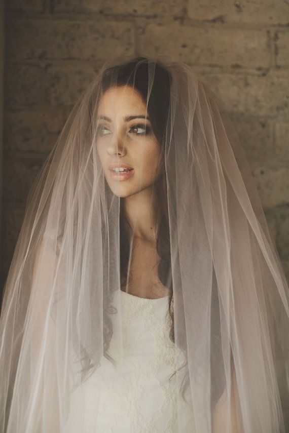 Ombre Hand Dyed Blush Pink Bridal Veil ( Cathedral, Blusher