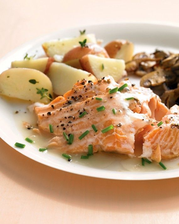 A light white-wine-and-chive sauce makes roasted salmon especially moist. Serve with sauteed mushrooms and steamed potatoes.