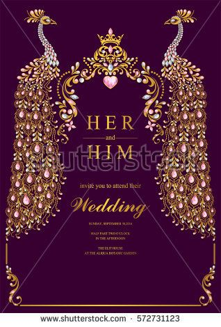 indian wedding invitation card templates with gold peacock, Wedding invitations