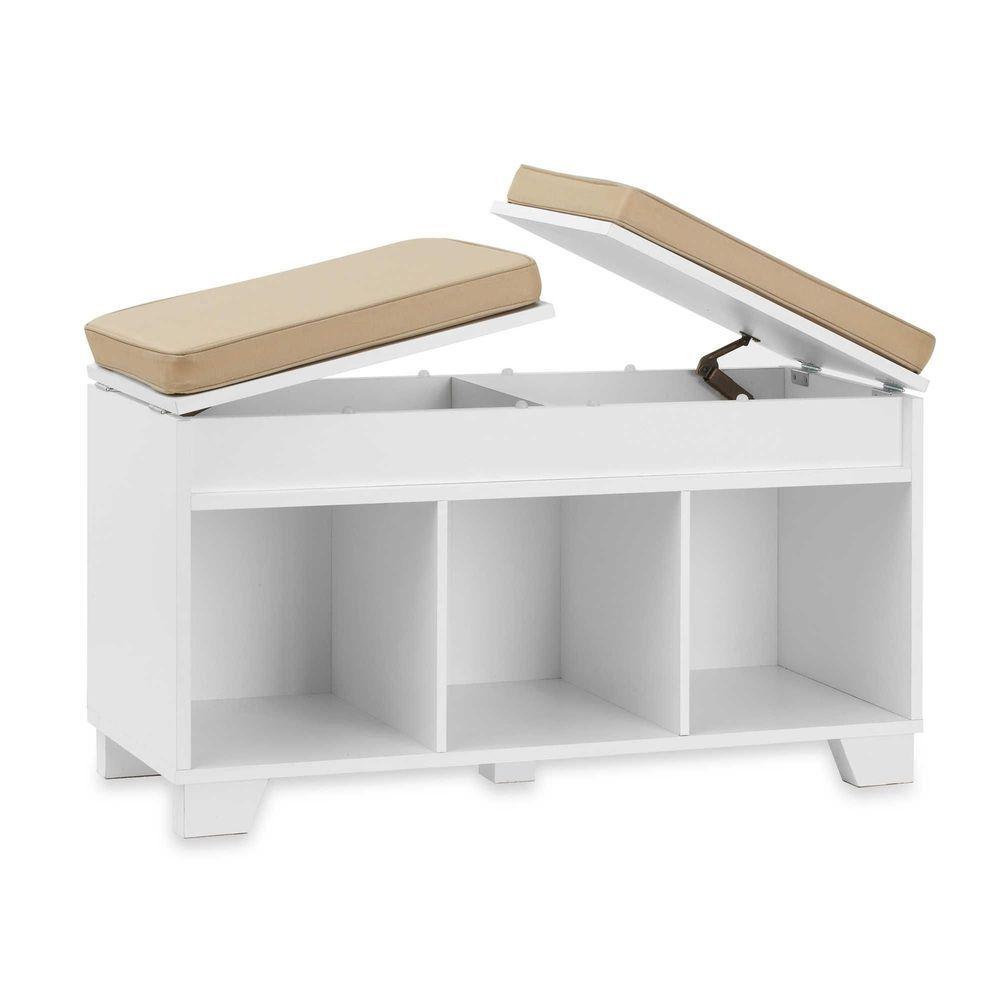 3-Cube Storage Bench Split-Top Cushion Lid Organizer Seat Chair ...