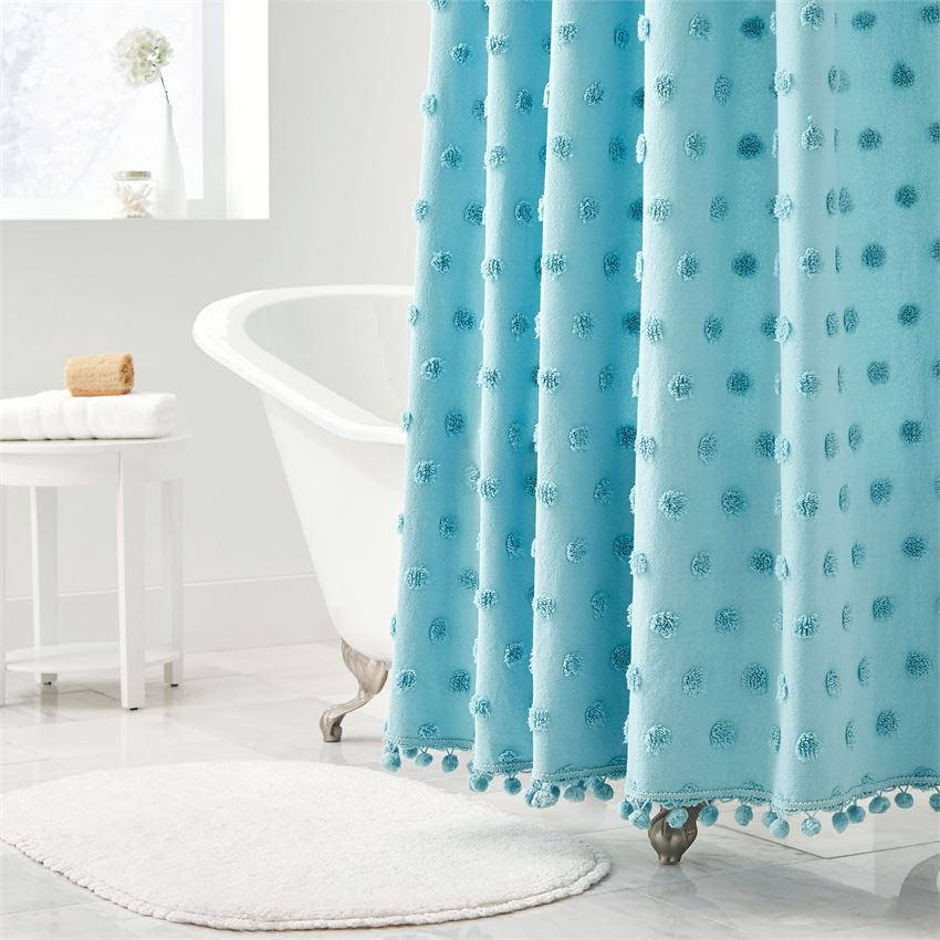 Dot Cotton Tufted Shower Curtain Bath Accessories Brylanehome