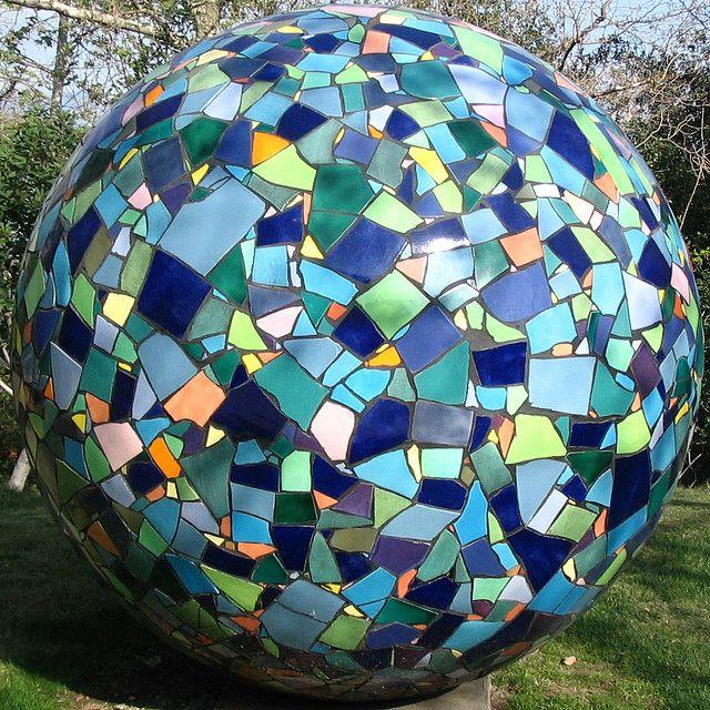 Outdoor Mosaic Sculpture Mosaic Bowling Ball Mosaic Garden Garden Balls