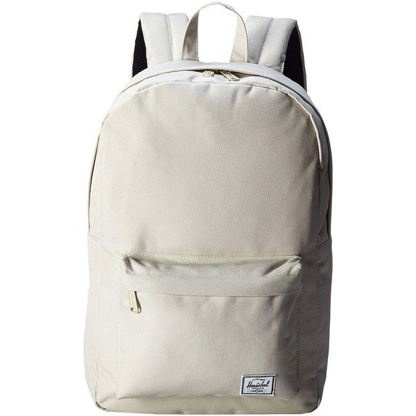 Herschel Supply Co. Classic Mid-Volume (Natural) Backpack Bags ($28) ❤ liked on Polyvore featuring bags, backpacks, beige, white bags, strap backpack, day pack backpack, white backpack and knapsack bags