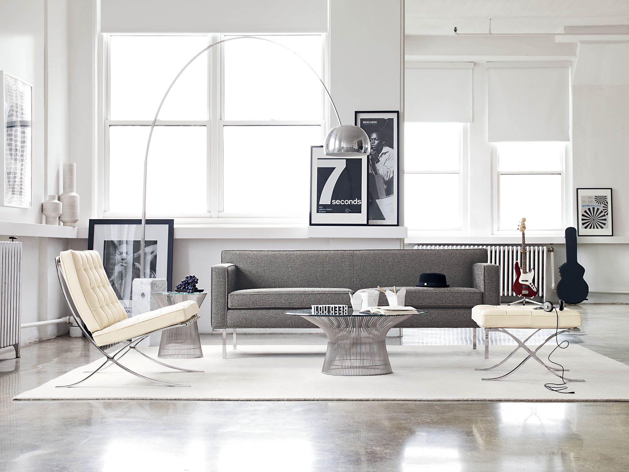 Theatre Sofa Shown With The Barcelona Chair And Stool, Platner Coffee Table  And Arco Floor