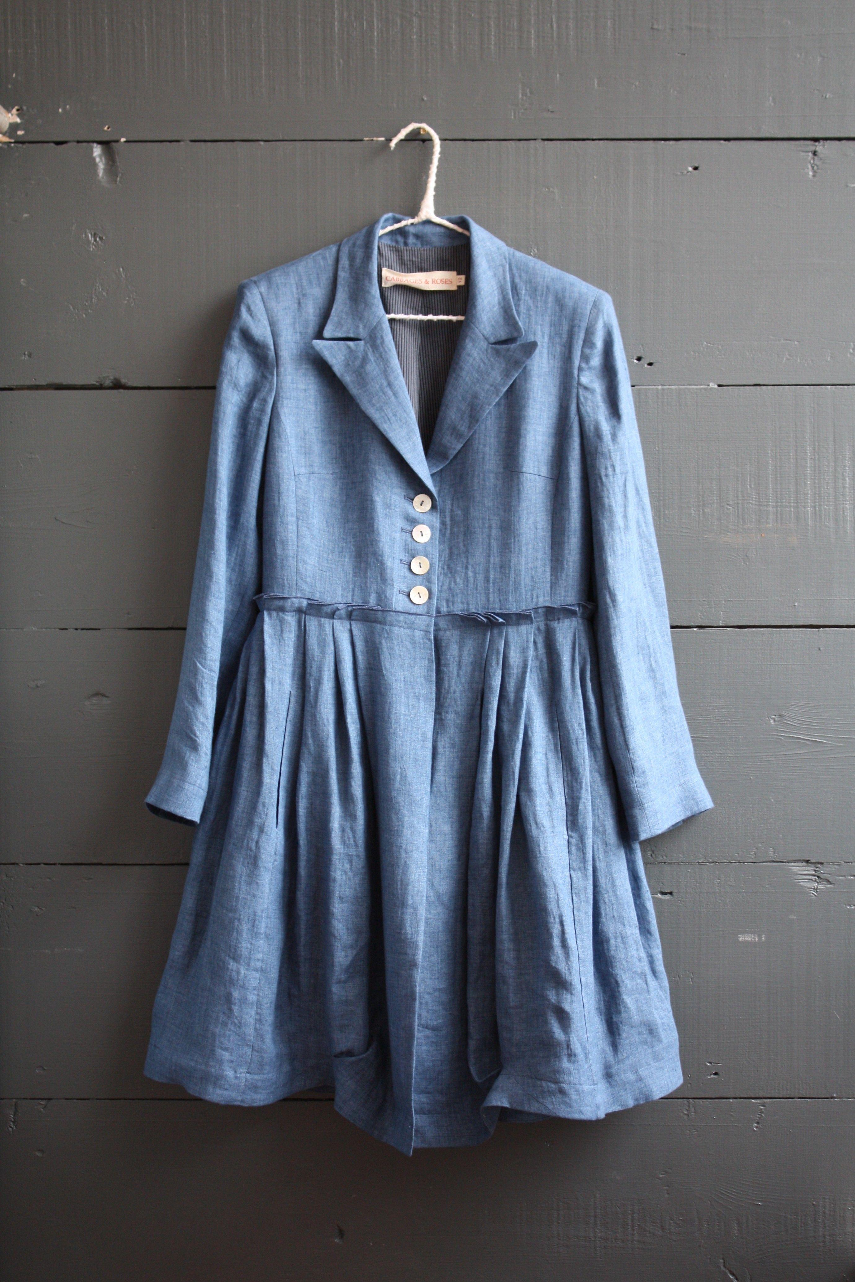 Blue Linen Coat - Cabbages & Roses