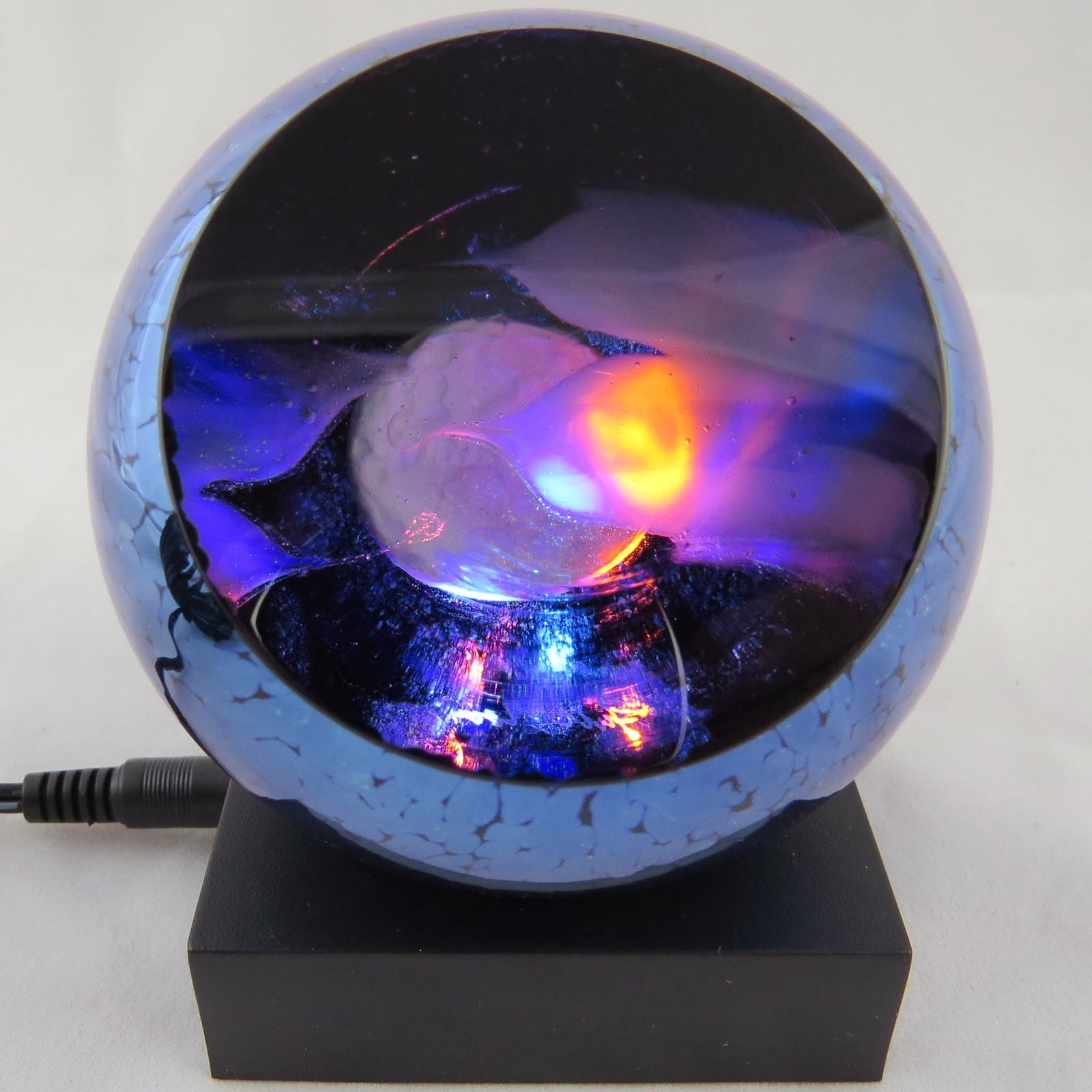 Glass Eye Studio Led Lighted Bases Round Mirrored White And Multi Color Glass Paperweights Glass Art Products Glass Eye Studio
