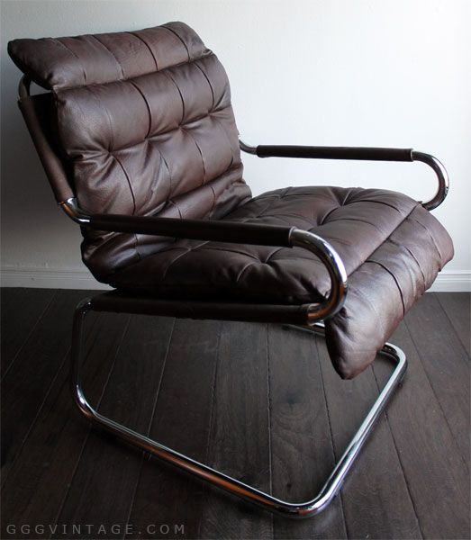 Scandinavian Leather Patchwork Sling Mid Century Modern Chrome