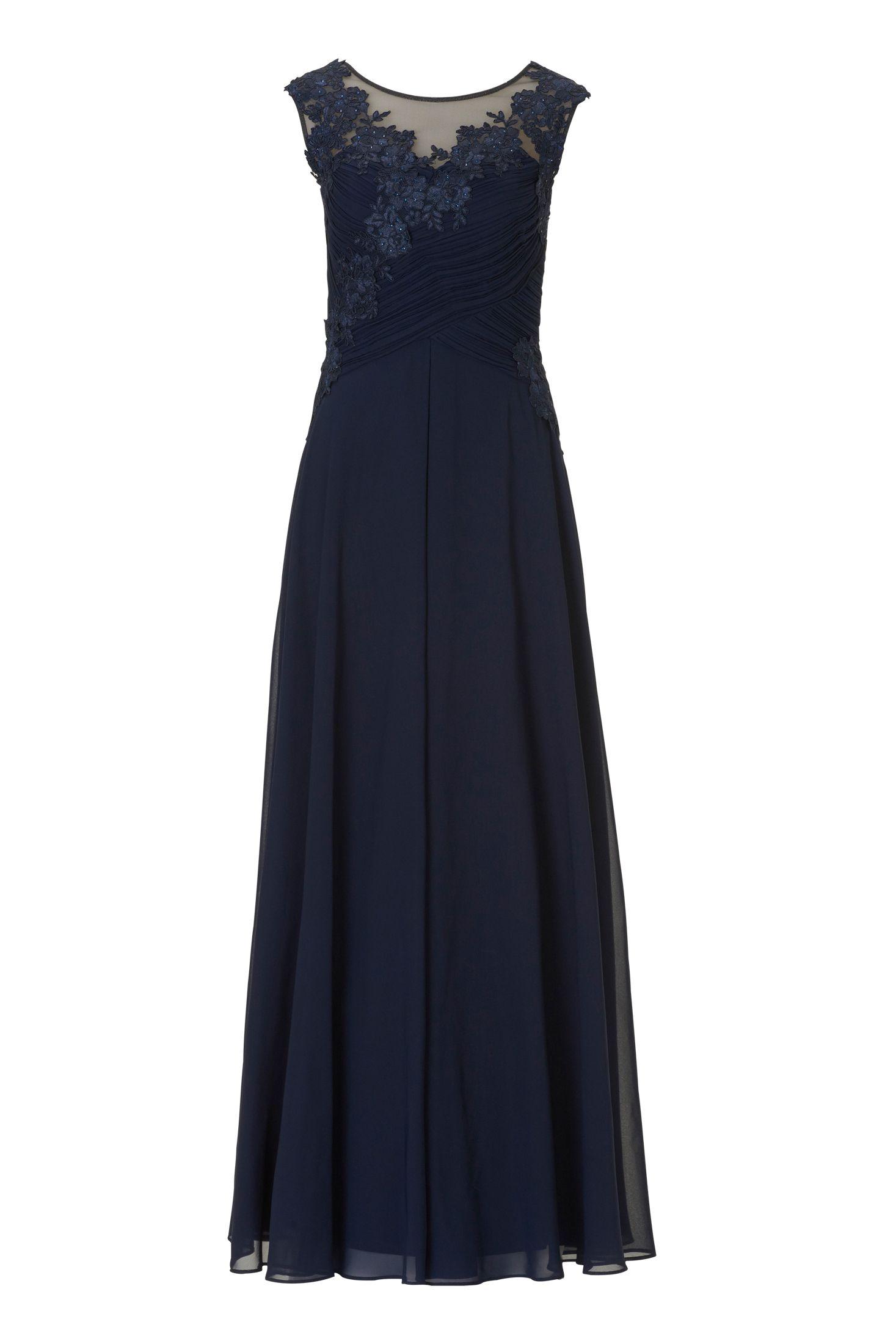 Langes Kleid Abendkleid Chiffon Dunkelblau Vera Mont  Mode
