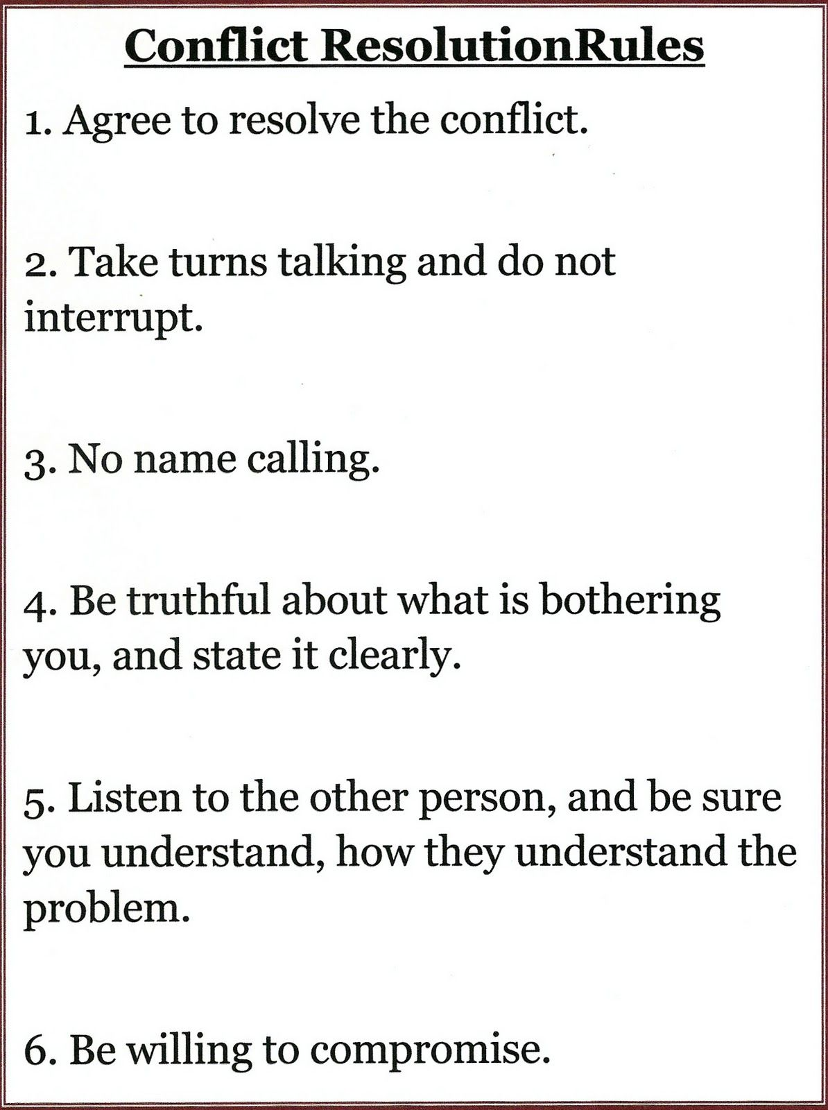 Conflict Resolution Rules