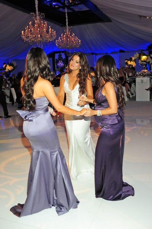 Kim Kardashian Purple Mermaid Bridesmaid Dress at Khloe