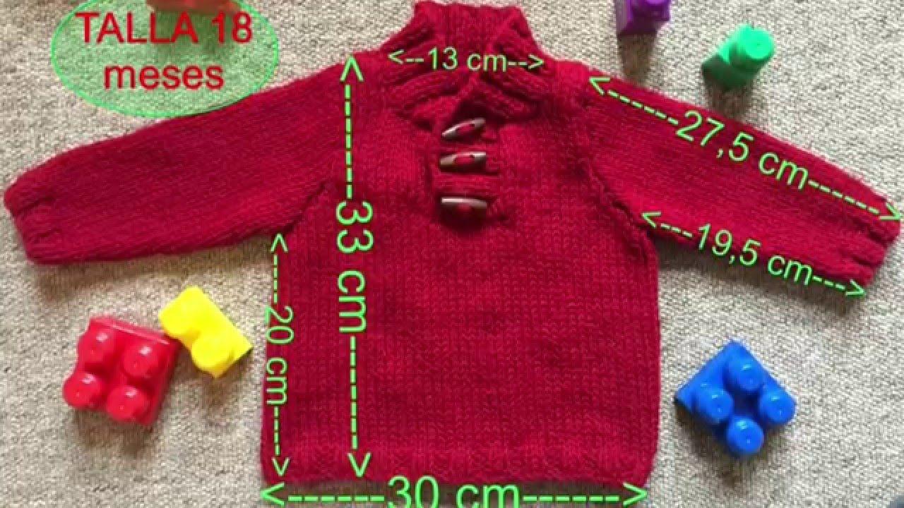 78f90e9ba Fácil Jersey punto para bebe 18 meses a dos agujas o agujas circulares