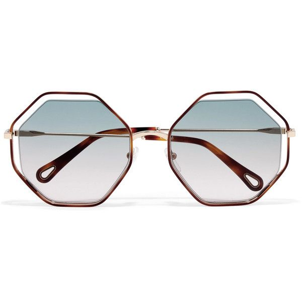 b018c184c580 Chloé Poppy octagon-frame acetate and gold-tone sunglasses ( 350) ❤ liked  on Polyvore featuring accessories