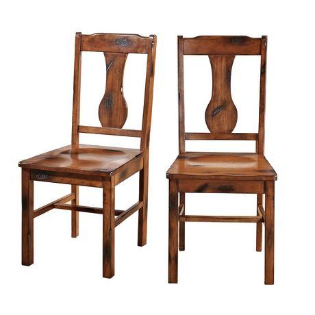 Manor Park Rustic Wood Dining Chairs Set Of 2 Dark Oak Ch Ne