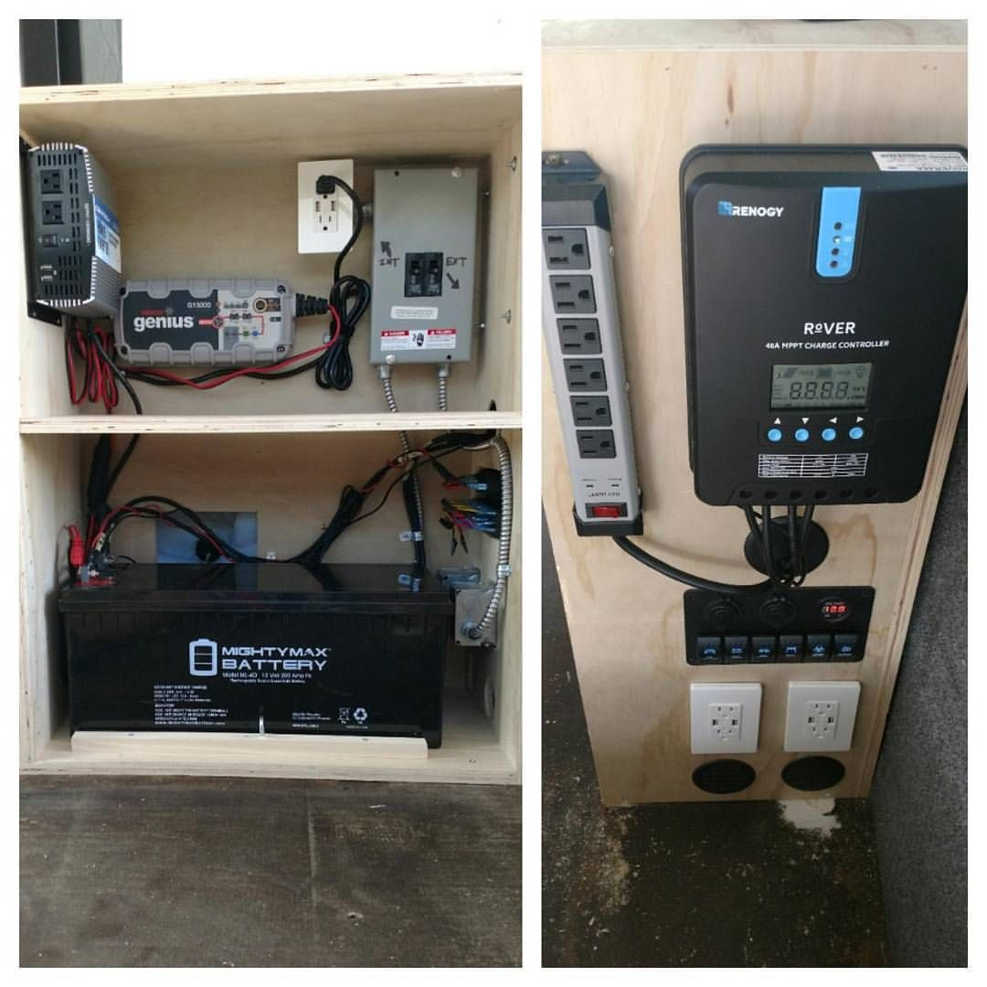 The Electrical Cabinet On The Sprinter Is Finished 1500 Watt Inverter Battery Charger 110 Shore Power Hookup 200ah Sealed Batter Sprinter Van Life Van