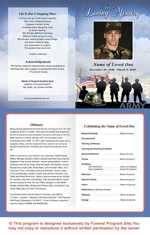 Army Funeral Program Template Funeral Program Template Funeral Program Template Free Program Template