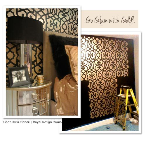 Moroccan wall stencil in gold for glam wallpaper look | http://www.royaldesignstudio.com/