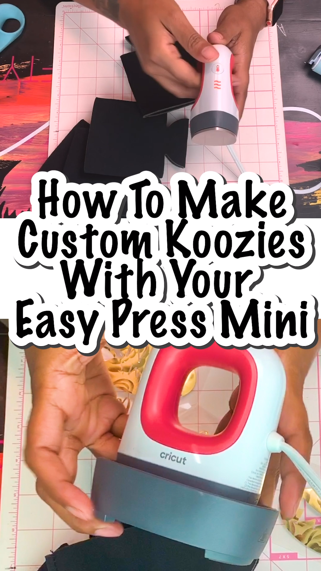 I love how easy it was to figure out how to make custom koozies with the EasyPress Mini. Plus, there's a video! Such a great resource!