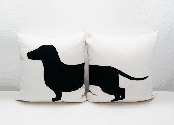 Federe Cuscini Con Animali.Personalized Dachshund Cushion Covers Beige And Dark Brown Dog
