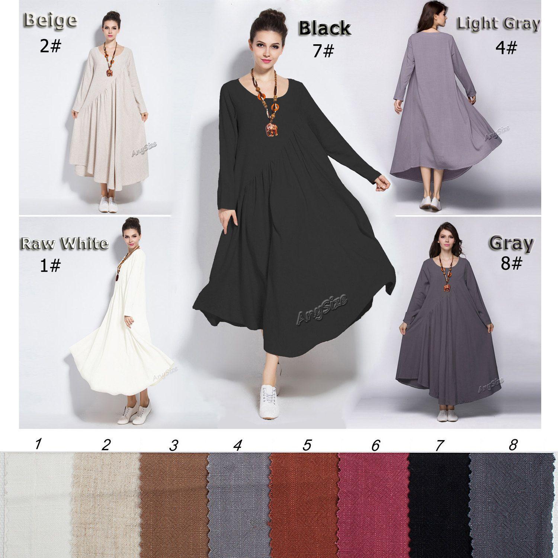Anysize linen&cotton maxi dress with sides seam pockets plus size ...