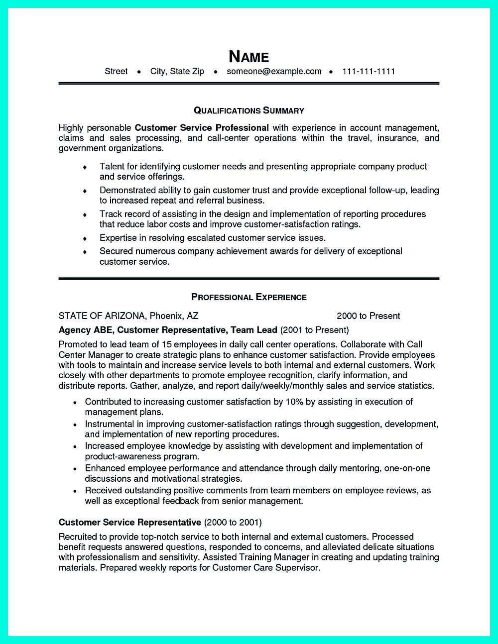 CSR resume or Customer Service Representative resume include the – Resume for Customer Service