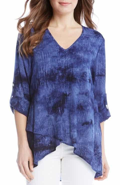 aeab333cc1cf Karen Kane Asymmetrical Wrap Hem Top- A crinkled gauze top with a rich, inky