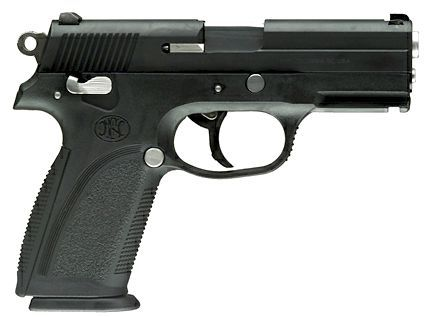 Military-style FNP-9 pistol.Loading that magazine is a pain! Get your Magazine speedloader today! http://www.amazon.com/shops/raeind