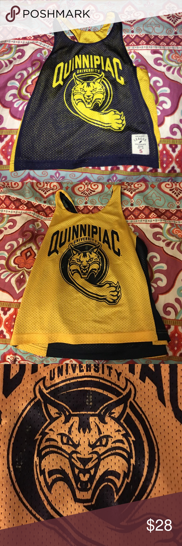 Quinnipiac University Reversible Penny Tank This penny is the perfect way to show off school spirit! Good condition, minor wear on yellow side near bobcat! Racer back tank. Women's cut. Nike is only listed for exposure. Nike Tops Muscle Tees