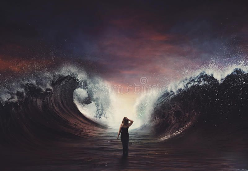 Woman walking through parted sea. Woman walking through water with huge waves , #Aff,  #parted, #walking, #Woman, #sea, …   Huge waves, Waves, Stock photography free