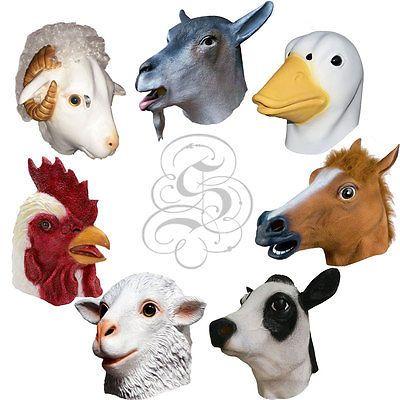 Latex Overhead Animal Fancy Party Dress Cosplay Carnival Costume Farmyard Mask