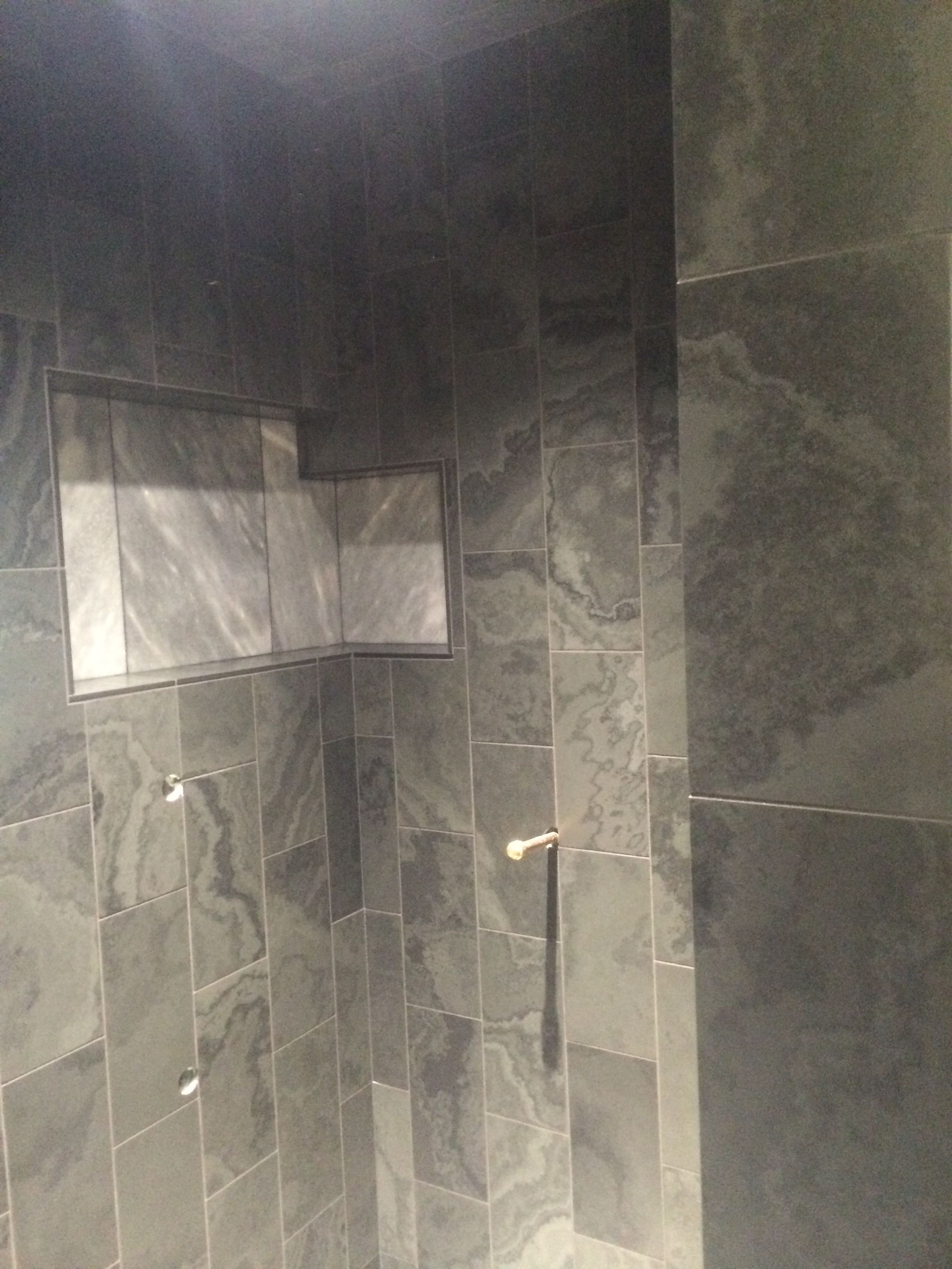 Recessed Tile Niche In Slate Shower Cut X Slate Down To X - 6x12 slate tile