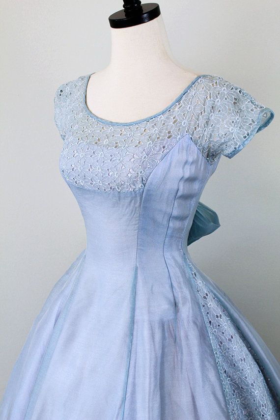 vintage 1950s 50s dress // Sky Blue and Lavender Cupcake Dress with Eyelet Panels and a Sweet Big Bow