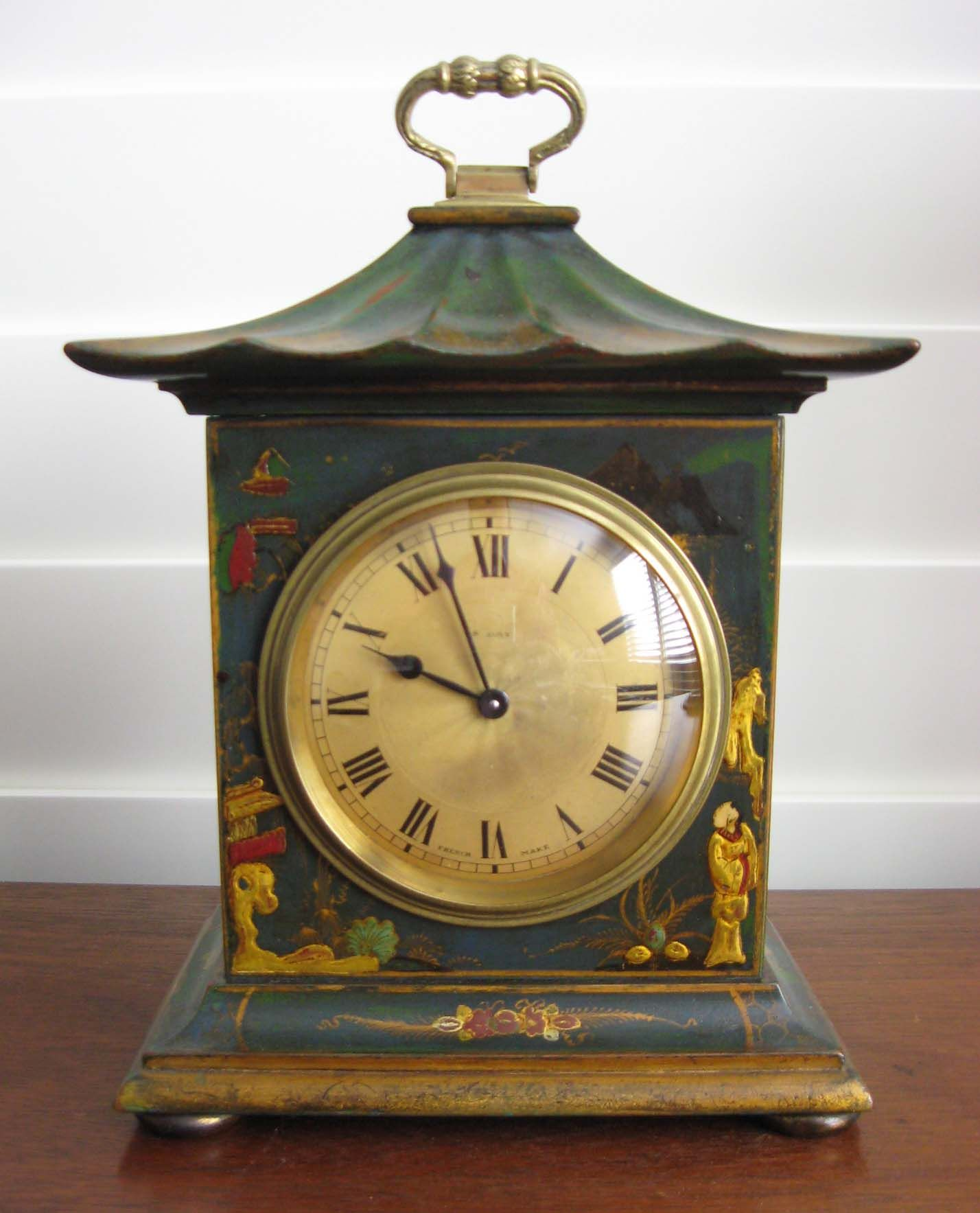 Green Chinoiserie Bracket Clock With French Movement