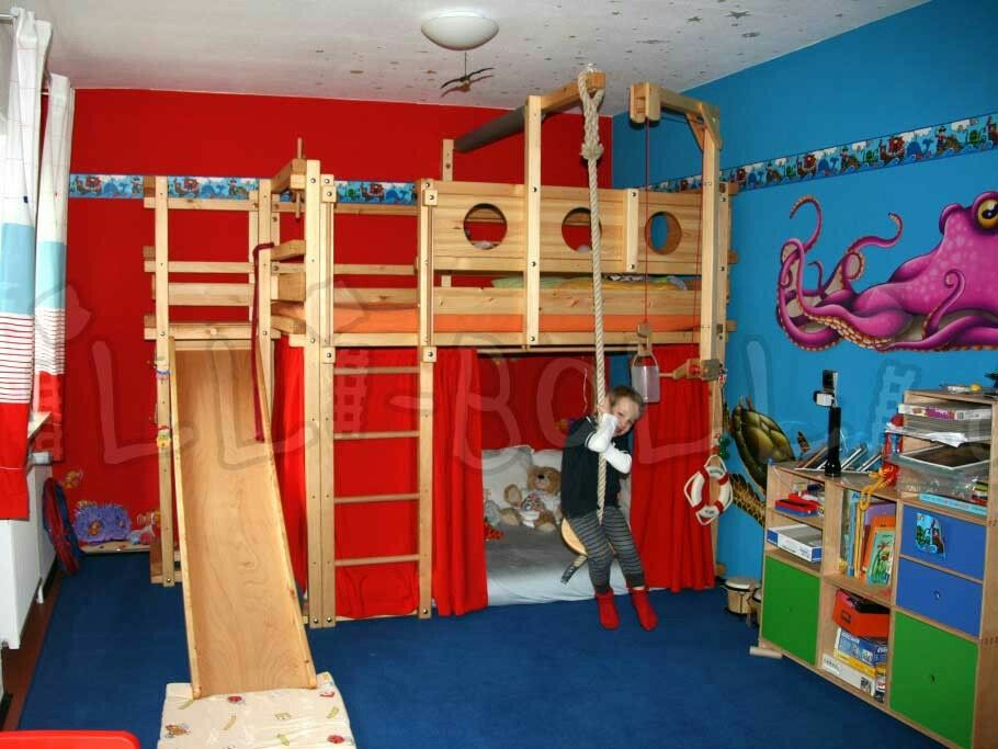 Loft Bed With Swing And Slide Kids Loft Beds Bunk Bed With
