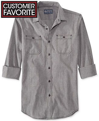 American Rag Solid Collared Long-Sleeve Shirt - Shop All American Rag - Men - Macy's