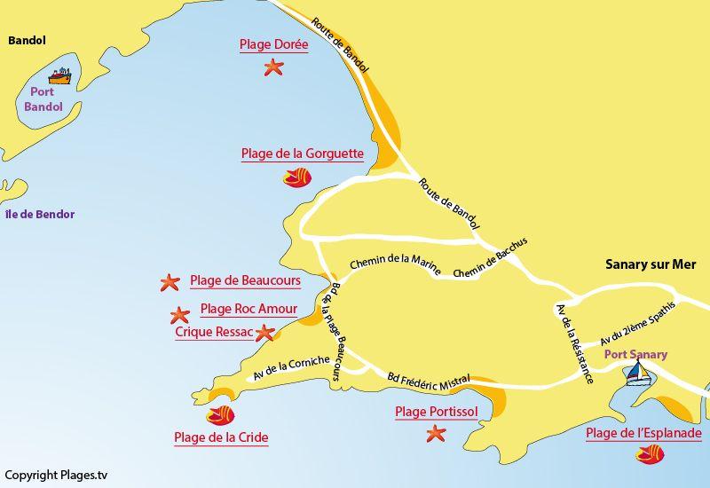 Carte Des Plages De Sanary Sur Mer Dans Le Var Sanary Sur Mer